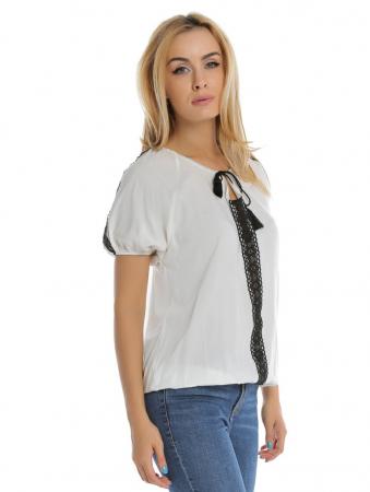 Bluza casual alba cu snur la gat B1121