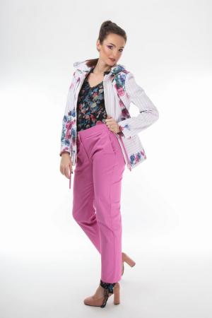 Pantaloni conici dama din stofa roz [1]