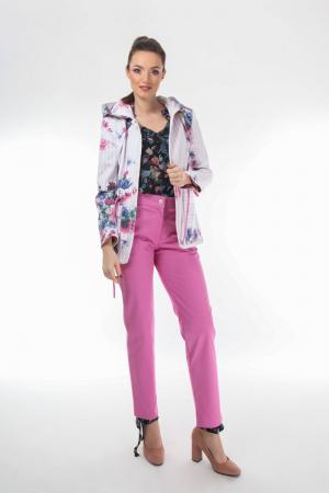 Pantaloni conici dama din stofa roz [0]