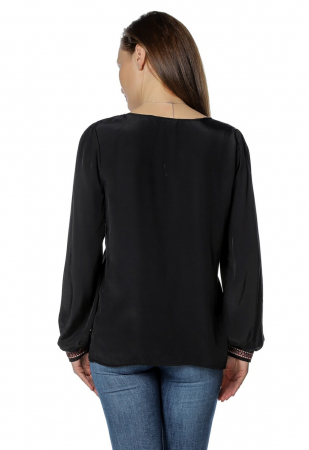 Bluza casual tip ie neagra cu ciucuri B1362