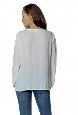 Bluza casual tip ie alba cu ciucuri B1401