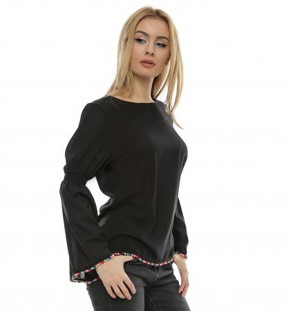 Bluza neagra cu maneci clopot B951