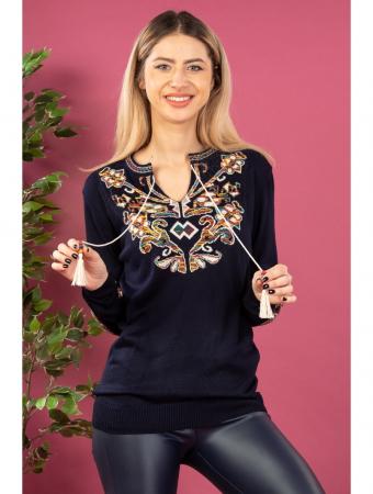 Bluza cu maneci lungi din tricot bleumarin cu broderie florala0