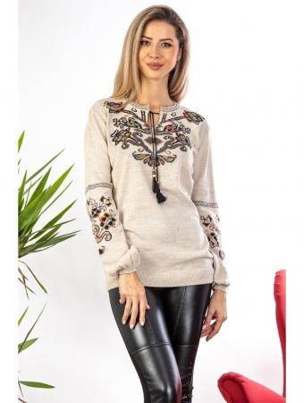 Bluza cu maneci lungi din tricot bej cu broderie florala0