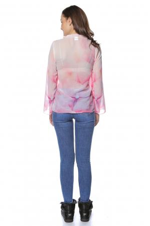 Bluza dama din voal imprimat Pink B1222