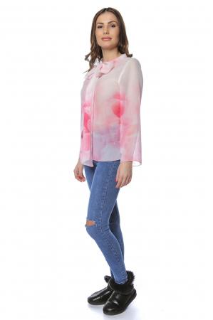 Bluza dama din voal imprimat Pink B1221
