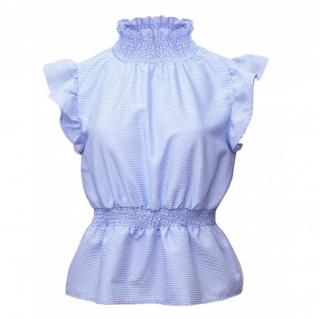 Bluza dama office din bumbac bleu cu volan la maneci2