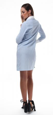 Rochie camasa alba cu dungi fine bleu1