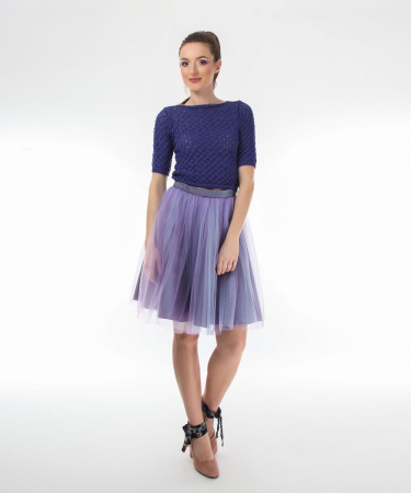 Top dama tricotat indigo si maneci trei sferturi1