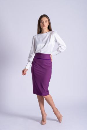 Bluza office alba din bumbac satinat Kim1