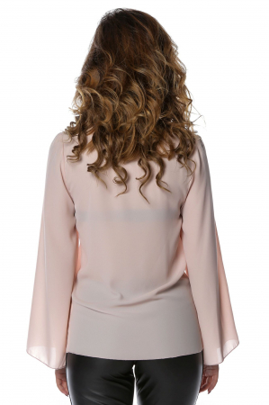 Bluza eleganta din voal nude cu aplicatii negre B1182