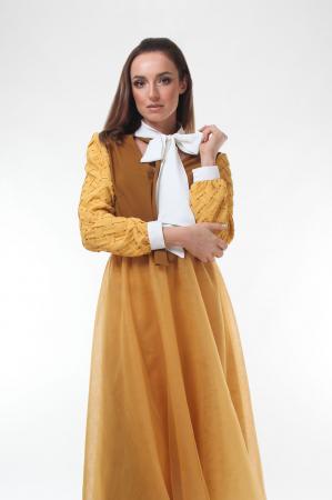 Bluza eleganta Dark Almond cu guler cu funda dubla0