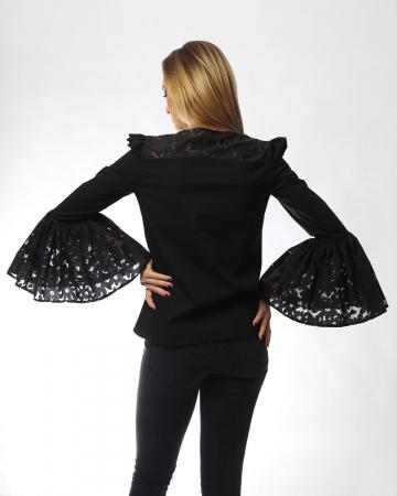 Bluza eleganta neagra cu maneci ample tip clopot1