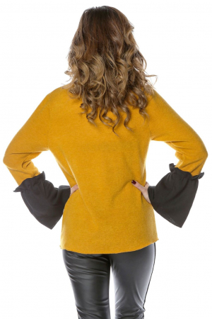 Bluza galbena din jerse cu volane aplicate la maneci B1142