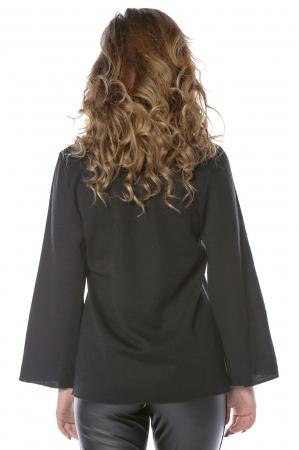 Bluza neagra din jerse cu floare aplicata B1212