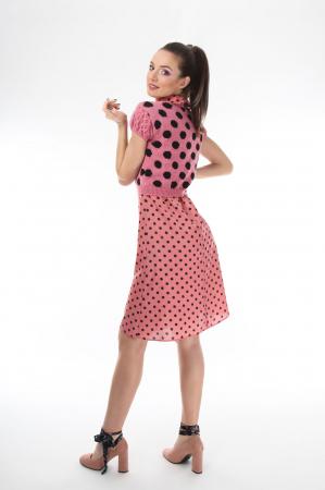 Top dama tricotat roz cu buline negre2