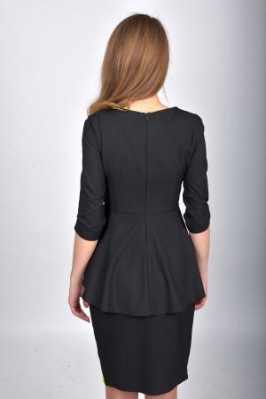 Bluza office peplum cu maneci trei sferturi Black1