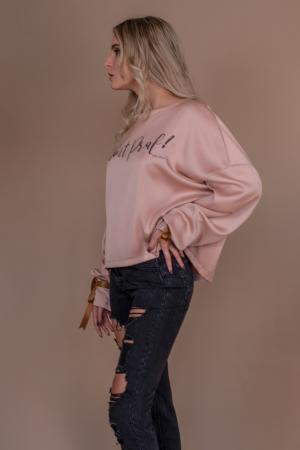 "Bluza oversize roz cu maneci lungi si imprimeu ""Sunt praf de zane""2"