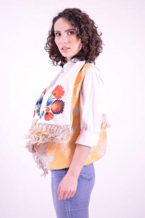 Vesta din brocart cu guler supradimensionat si imprimeu floral Folklore3