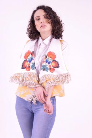 Vesta din brocart cu guler supradimensionat si imprimeu floral Folklore0