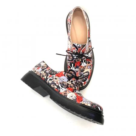 Pantofi din piele naturala cu imprimeu multicolor Dogs Clara2
