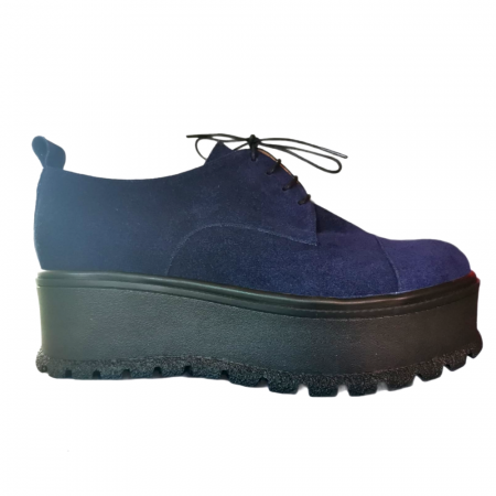 Pantofi dama din piele naturala cu platforma Blue Navy [0]