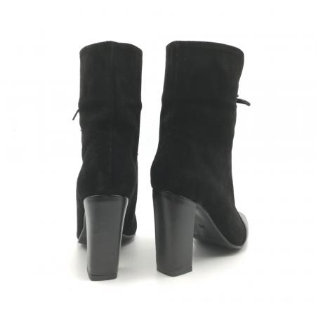 Botine negre din piele naturala accesorizate cu siret Antigua2