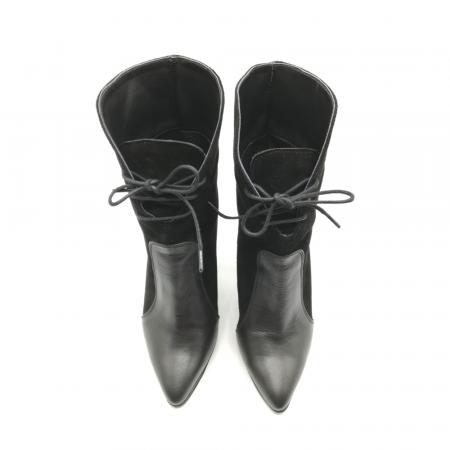 Botine negre din piele naturala accesorizate cu siret Antigua5