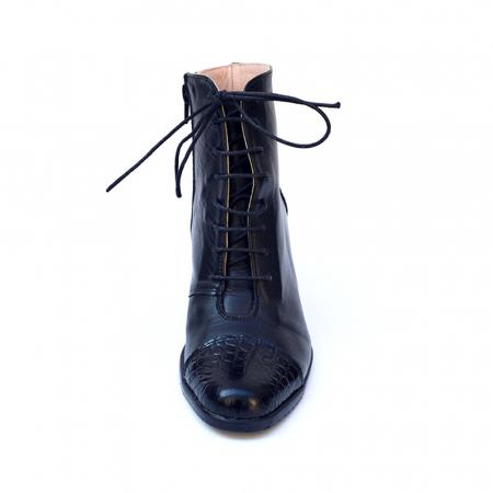 Botine negre cu toc gros din piele naturala Croco4