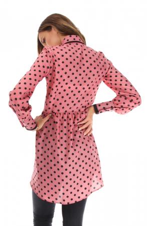 Camasa casual cu maneci lungi roz cu buline2