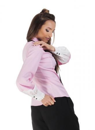 Camasa dama office roz cu funda si insertii albe la maneci2