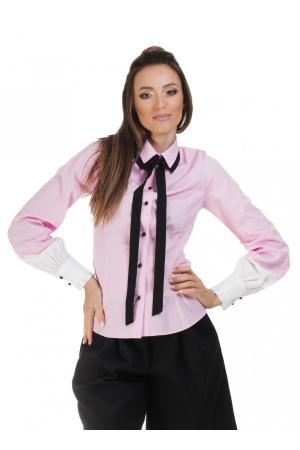 Camasa dama office roz cu funda si insertii albe la maneci0