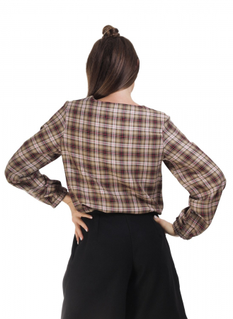 Bluza dama casual din bumbac in carouri2