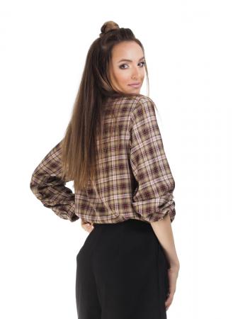 Bluza dama casual din bumbac in carouri1