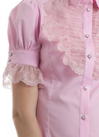 Camasa dama office roz cu jabou lat din dantela si maneci scurte [2]