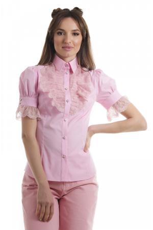Camasa dama office roz cu jabou lat din dantela si maneci scurte [0]