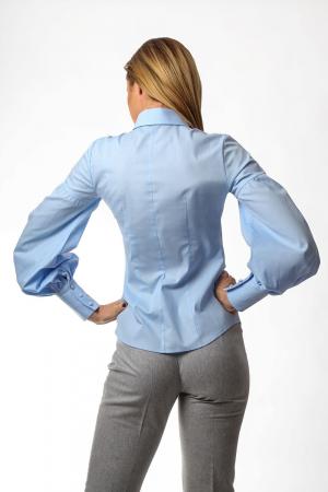 Camasa dama office bleu cu maneci bufante si fenta dubla1