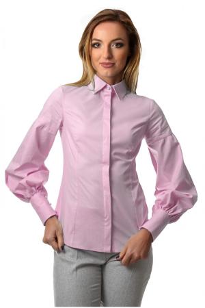 Camasa dama office roz cu maneci bufante si fenta dubla0
