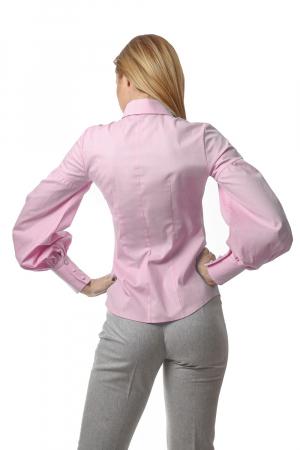 Camasa dama office roz cu maneci bufante si fenta dubla1