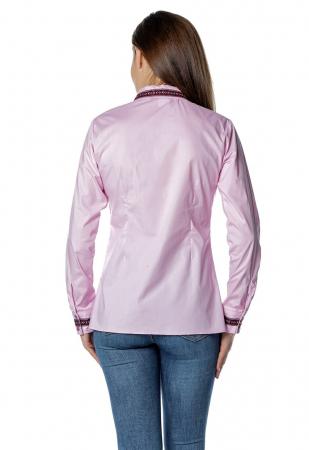 Camasa office roz cu banda multicolora aplicata B1492