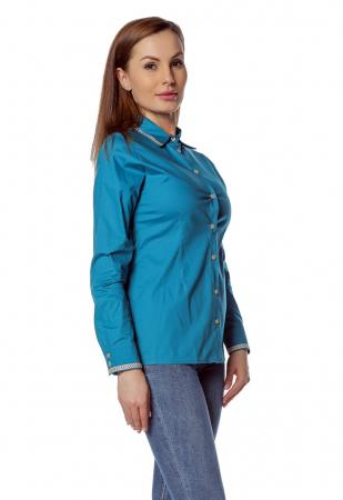Camasa office albastra cu banda multicolora aplicata B1461
