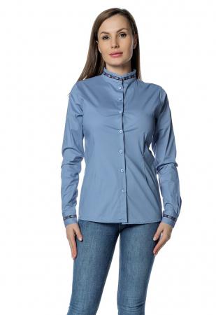 Camasa office albastra cu banda multicolora aplicata B1500