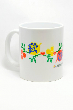 Cana cu motive romanesti cu trandafiri multicolori