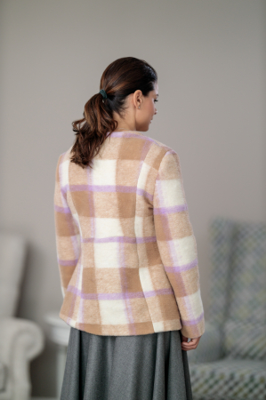 Sacou din stofa de lana in carouri Femina3