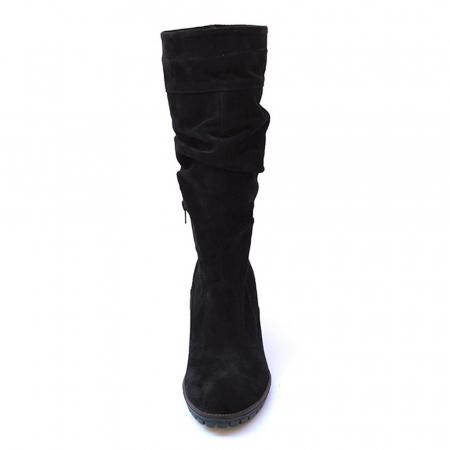 Cizme negre fronsate din piele Black Velvet, 362
