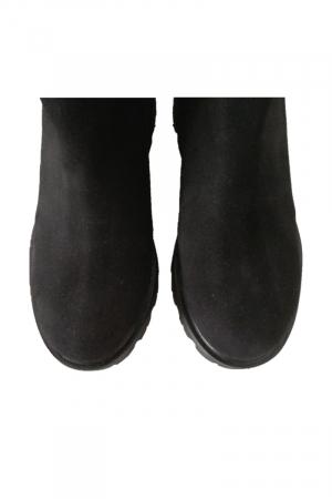 Cizme dama cu talpa joasa din piele intoarsa Vintage Black2