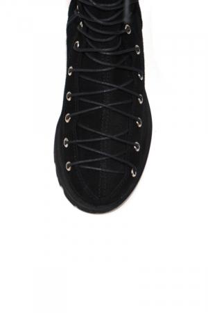 Cizme dama lungi din piele intoarsa Black Laces2