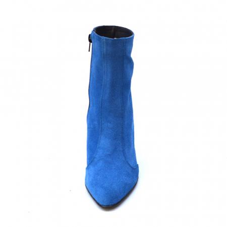 Botine albastre cu toc cilindric din piele naturala4