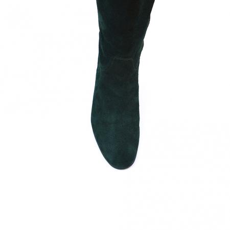 Cizme negre lungi din piele intoarsa cu toc mic gros3