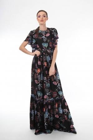 Rochie lunga boho chic cu imprimeu floral0